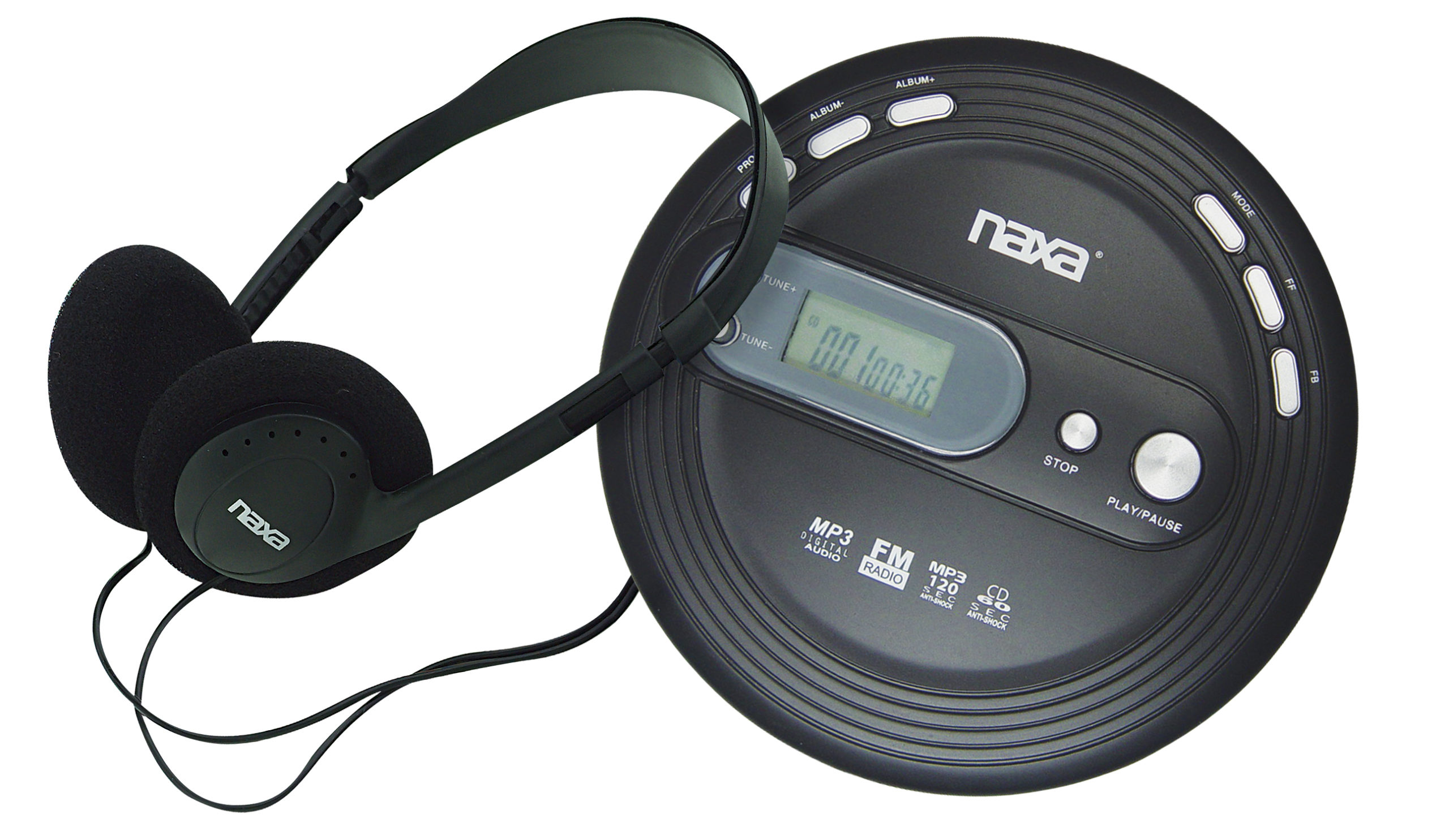 Slim Personal MP3/CD Player with 120 Second Anti-Shock & FM Scan Radio