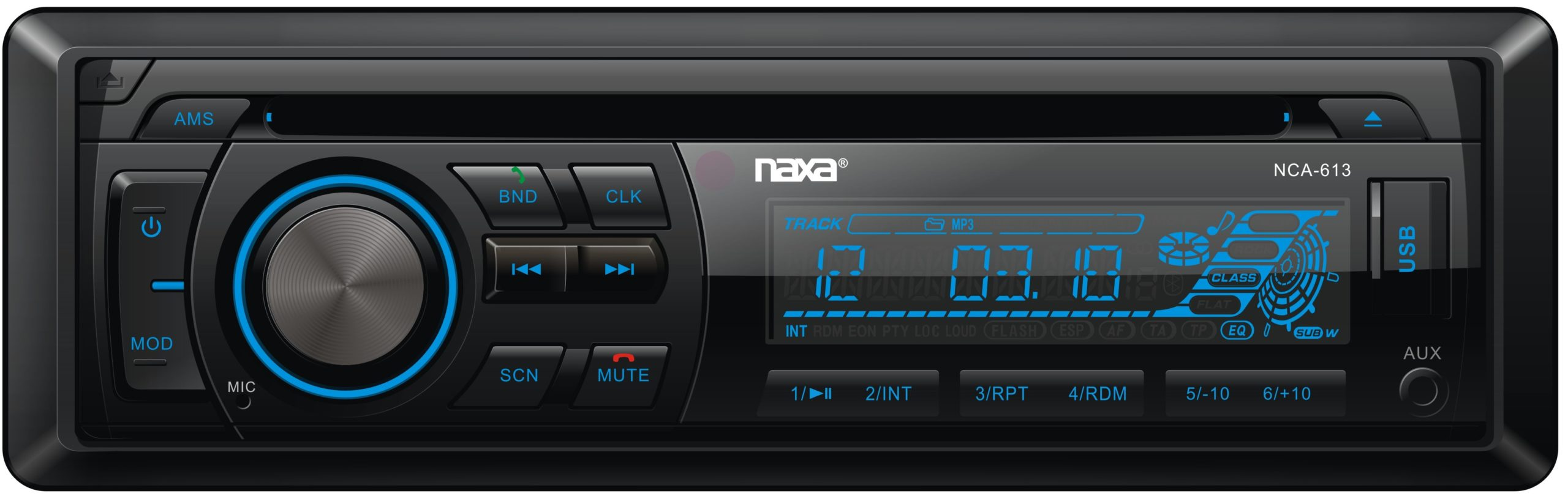 In-Dash MP3/CD Player and Receiver with Bluetooth® and Detachable Faceplate