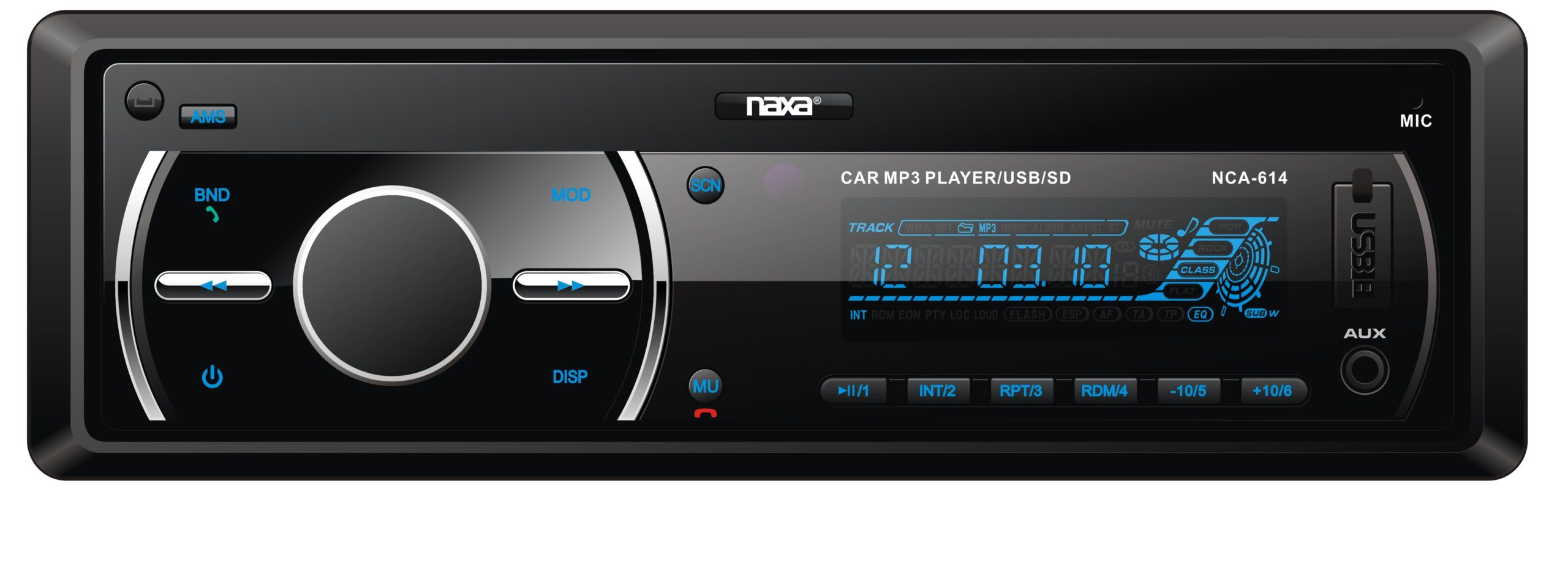 In-Dash AM/FM Radio/MP3 Player and Receiver with Bluetooth® and Detachable Faceplate