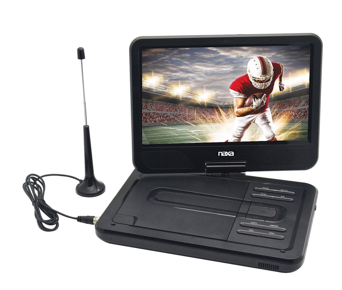"""10"""" TFT LCD Swivel Screen Portable DVD Player with TV, USB/SD/MMC Inputs"""