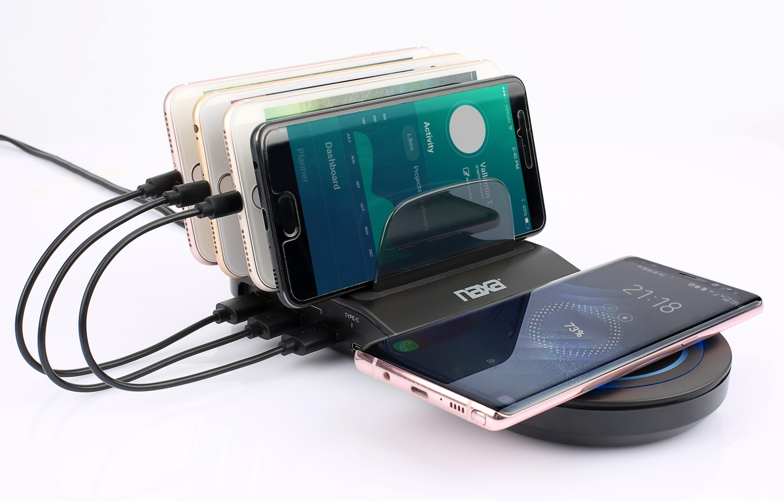 5-in-1 Wireless Fast Charging Station with Qi Charge Pad & 4 USB Ports