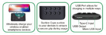 Ultra-Compact 10000mAh Wireless Charging Power Bank with Suction Grips & USB