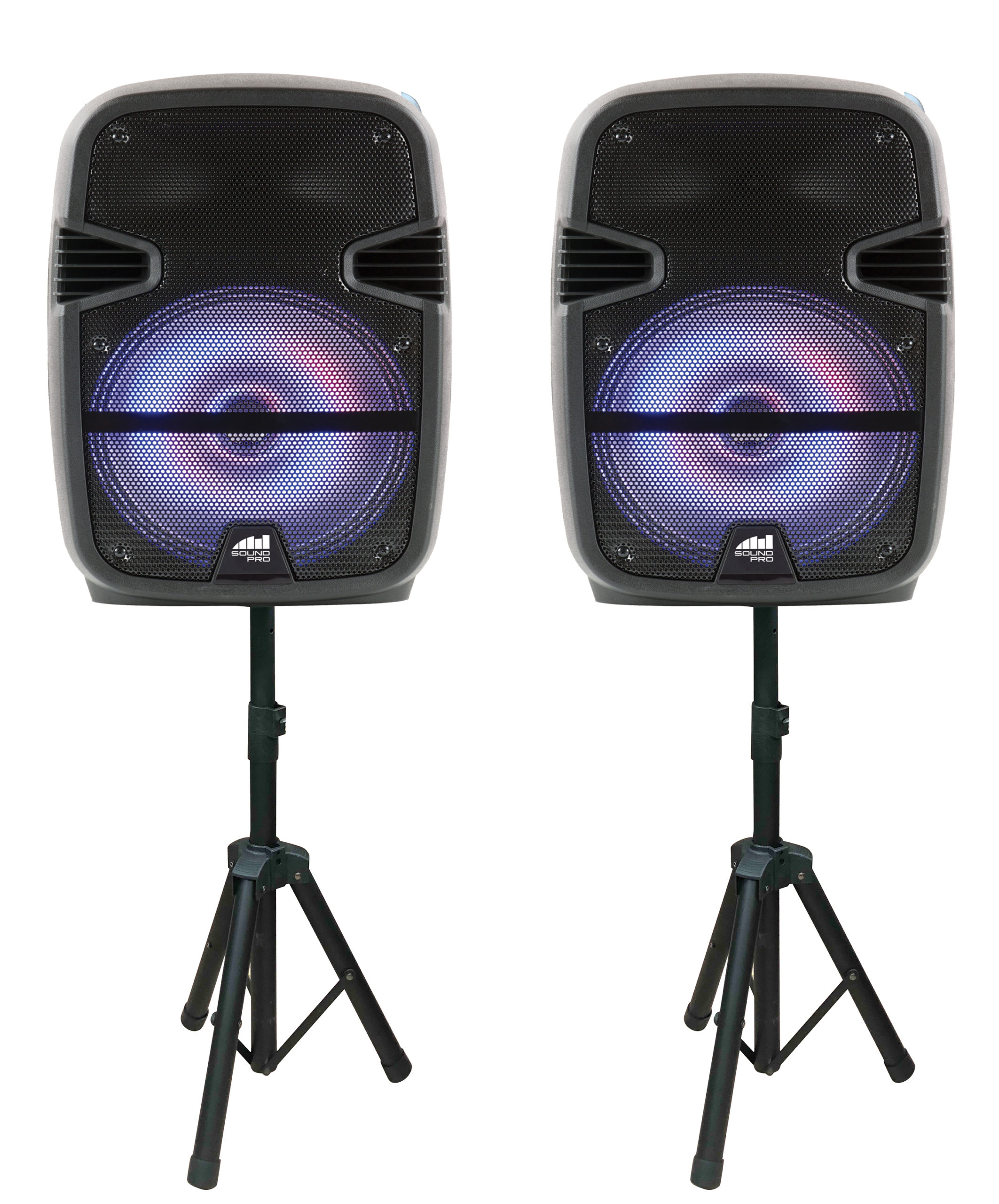 Dual 12″ Bluetooth® True Wireless Sync Party Speakers with Disco Light Combo