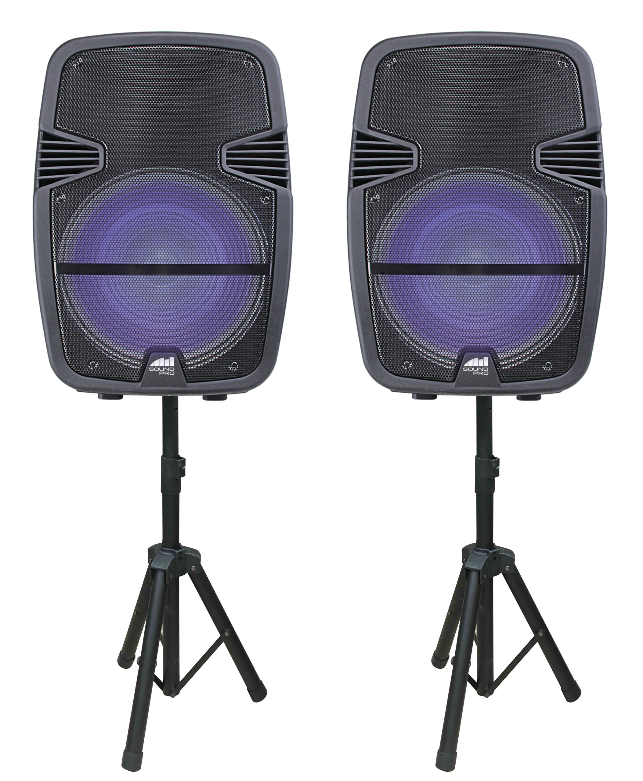Dual 15″ Bluetooth® True Wireless Sync Party Speakers with Disco Light Combo