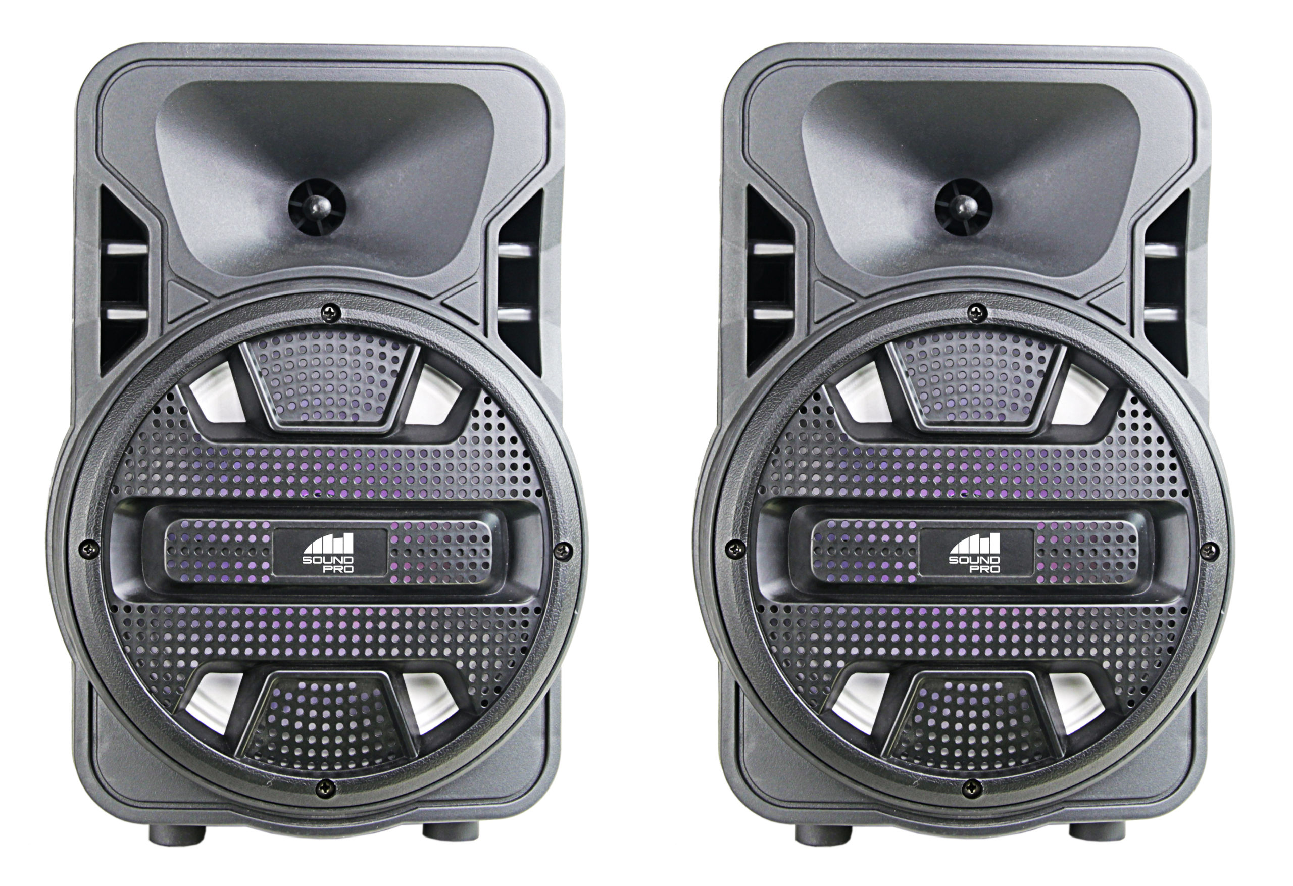 Dual 8″ Bluetooth® True Wireless Sync Party Speakers with Disco Light